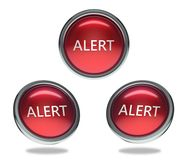 Alert glass button. Alert round shiny red 3 angle web icons with metal frame,3d rendered isolated on white background Stock Photo