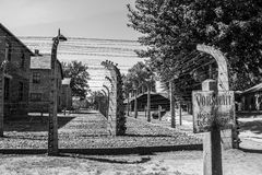Alert sign in Auschwitz Royalty Free Stock Photo