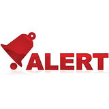 Alert sign. Glossy red icon showing a bell and the word alert beside it Stock Images