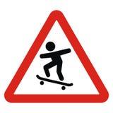 Alert on skateboarders, traffic sign Stock Image
