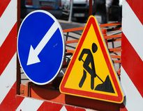 Alert under construction. Alert sign under construction closeup Royalty Free Stock Image