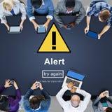 Alert Warning Notification Hack Signal Concept. People Discussing Alert Warning Notification Hack Royalty Free Stock Photo