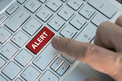 Alert word on red keyboard button, anxiety, worry, uneasiness, unease, disquiet, disquietude. Alert word on red keyboard button. anxiety, worry, uneasiness stock photography