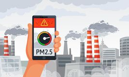 Alerta da poluição do ar Pm2 notificação do smartphone do medidor de 5 alertas, ar sujo e ilustração suja do vetor do ambie ilustração stock