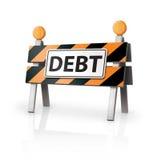 Alerta de la deuda Imagen de archivo libre de regalías