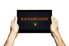 Alerta de Malware em uma tela da tabuleta Mãos que prendem a tabuleta Isolado fotos de stock royalty free