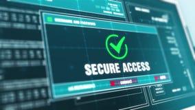 Alerta de segurança fixado do sistema de alarme do acesso no tela de computador ilustração stock