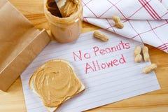 Alerta - ningunos cacahuetes permitidos Fotografía de archivo libre de regalías