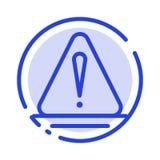 Alerta, perigo, aviso, linha pontilhada azul logística linha ícone ilustração royalty free
