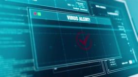 Alerta transferido arquivos pela rede vírus da mensagem de advertência do progresso do carregamento do vírus na tela ilustração do vetor