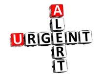 alerte de mots croisé du rendu 3D Word urgent au-dessus du fond blanc illustration libre de droits
