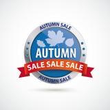 Alerte ronde argentée bleue Autumn Sale de bouclier de protection Photographie stock