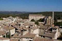 Ales, France: Image with the city seen from above Royalty Free Stock Photos