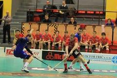 Ales Hlavicka and Radim Polasek in floorball match Royalty Free Stock Image