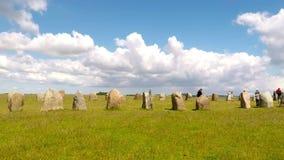 Ale standing stones Sweden stock video