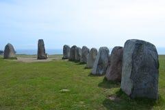 Ales stenar Aal` s Stenen, Archeologische Plaats in Zuidelijk Zweden royalty-vrije stock foto's