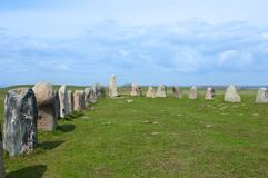 Ales stenar Ale`s Stones, Archaeological Site in Southern Sweden Stock Photos