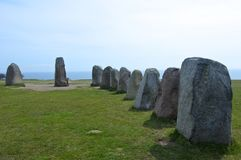 Ales stenar Ale`s Stones, Archaeological Site in Southern Sweden Royalty Free Stock Photos