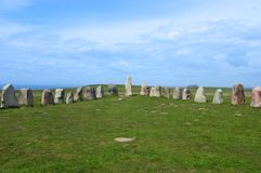 Ales stenar Ale`s Stones, Archaeological Site in Southern Sweden Stock Images
