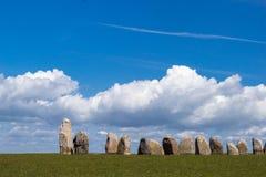 Ales Stenar - um monumento megalítico na Suécia imagens de stock royalty free