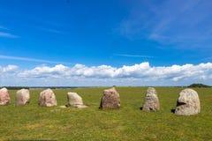 Ales Stenar - um monumento megalítico na Suécia fotografia de stock royalty free