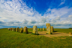 Ales stones in Skane, Sweden. Amazing view of Ales stones, megalithic monument in Skane, southern Sweden Royalty Free Stock Photos