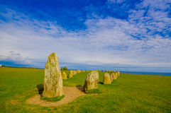Ales stones in Skane, Sweden. Amazing view of Ales stones, megalithic monument in Skane, southern Sweden Royalty Free Stock Photo