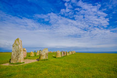 Ales stones in Skane, Sweden. Ales stones, ancient megalithic monument in Skane, Sweden Royalty Free Stock Image