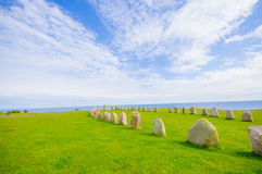 Ales stones in Skane, Sweden. Beautiful summer day in Ales stones, megalithic monument in Skane, southern Sweden Stock Images