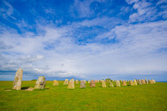 Ales stones in Skane, Sweden. Beautiful summer day in Ales stones, megalithic monument in Skane, southern Sweden Royalty Free Stock Photo