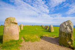 Ales stones in Skane, Sweden. Beautiful summer day in Ales stones, megalithic monument in Skane, southern Sweden Stock Photos