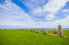 Ales stones in Skane, Sweden. Beautiful summer day in Ales stones, megalithic monument in Skane, southern Sweden Stock Photography