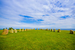 Ales stones in Skane, Sweden. Beautiful view of Ales stones, impressing archaeological megalithic monument in Skane, Sweden Royalty Free Stock Images