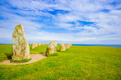 Ales stones in Skane, Sweden. Beautiful view of Ales stones, impressing archaeological megalithic monument in Skane, Sweden Stock Images