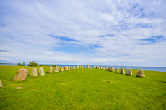 Ales stones in Skane, Sweden. Beautiful view of Ales stones, impressing archaeological megalithic monument in Skane, Sweden Royalty Free Stock Photography