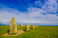Ales stones in Skane, Sweden. Beautiful view of Ales stones, megalithic monument in Skane, Sweden Royalty Free Stock Photography