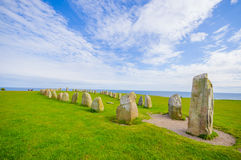 Ales stones in Skane, Sweden. Breathtaking view of Ales stones, megalithic monument in Skane, southern Sweden Stock Photos