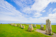 Ales stones in Skane, Sweden. Breathtaking view of Ales stones, megalithic monument in Skane, southern Sweden Royalty Free Stock Image