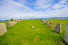 Ales stones in Skane, Sweden. Breathtaking view of Ales stones, megalithic monument in Skane, southern Sweden Royalty Free Stock Photos
