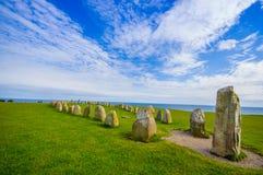 Ales stones in Skane, Sweden. Ales stones, imposing megalithic monument in Skane, Sweden Stock Image