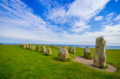 Ales stones in Skane, Sweden. Ales stones, imposing megalithic monument in Skane, Sweden Royalty Free Stock Image