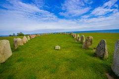 Ales stones in Skane, Sweden. Ales stones, imposing megalithic monument in Skane, Sweden Stock Photography