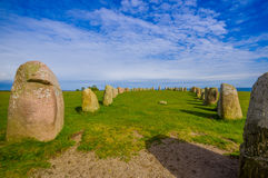 Ales stones in Skane, Sweden. Ales stones, magnificent archaeological megalithic monument in Skane, Sweden Royalty Free Stock Photography