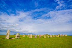 Ales stones in Skane, Sweden. Ales stones, magnificent archaeological megalithic monument in Skane, Sweden Royalty Free Stock Photos