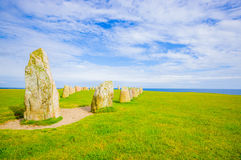 Ales stones in Skane, Sweden. Ales stones, megalithic monument in Skane, southern Sweden Royalty Free Stock Images