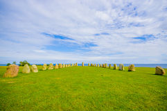 Ales stones in Skane, Sweden. Ales stones, megalithic monument in Skane, southern Sweden Royalty Free Stock Photography