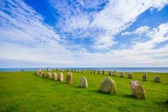 Ales stones in Skane, Sweden. Radiant view of Ales stones, impressive megalithic monument in Skane, Sweden Stock Image