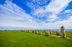 Ales stones in Skane, Sweden. Radiant view of Ales stones, impressive megalithic monument in Skane, Sweden Stock Photos