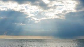 Alesaje de marea La puesta del sol en el mar, los rayos del sol hace su manera a través de las nubes Lapso de tiempo metrajes