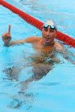 Alessandro Calvi. MILAN, ITALY - SEPT 21:  Alessandro Calvi swimming champion during the performance september 21, 2008 in Milan, ITALY Royalty Free Stock Photography